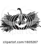Clipart Of A Black And White Halloween Jackolantern Pumpkin With Straw Or Hay Royalty Free Vector Illustration