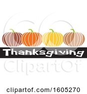 Clipart Of A Row Of Pumpkins Over Thanksgiving Text Royalty Free Vector Illustration by Johnny Sajem