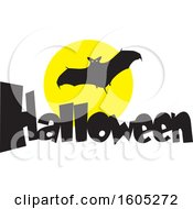 Clipart Of A Flying Halloween Vampire Bat Over The Word Halloween And A Full Moon Royalty Free Vector Illustration
