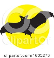 Clipart Of A Flying Halloween Vampire Bat Over A Full Moon Royalty Free Vector Illustration