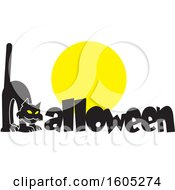 Clipart Of A Scaredy Cat Forming The Letter H In Halloween Over A Full Moon Royalty Free Vector Illustration