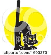 Clipart Of A Scaredy Cat Over A Full Moon Royalty Free Vector Illustration