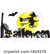 Clipart Of A Silhouetted Bat And Witch Flying Against A Full Moon Over A Cat Forming An H In The Word Halloween Royalty Free Vector Illustration