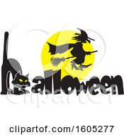 Clipart Of A Silhouetted Witch Flying Against A Full Moon Over A Cat Forming An H In The Word Halloween Royalty Free Vector Illustration