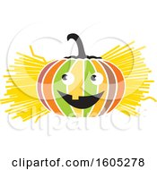 Clipart Of A Colorful Halloween Jackolantern Pumpkin With Straw Or Hay Royalty Free Vector Illustration