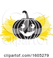 Clipart Of A Halloween Jackolantern Pumpkin With Straw Or Hay Royalty Free Vector Illustration