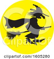 Clipart Of A Silhouetted Halloween Witch Flying Against A Full Moon Royalty Free Vector Illustration