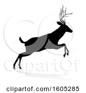 Black Silhouetted Deer Stag Buck With A Shadow On A White Background