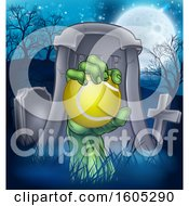 Clipart Of A Rising Zombie Hand Holding A Tennis Ball In A Cemetery Royalty Free Vector Illustration by AtStockIllustration