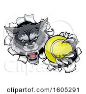 Tough Wolf Monster Mascot Holding Out A Tennis Ball In One Clawed Paw And Breaking Through A Wall