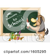 Clipart Of A Bug And Dog With A Back To School Chalkboard Royalty Free Vector Illustration