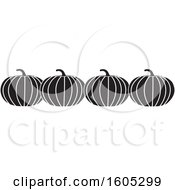 Clipart Of A Row Of Black And White Halloween Or Thanksgiving Pumpkins Royalty Free Vector Illustration by Johnny Sajem