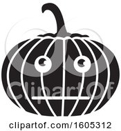 Clipart Of A Black And White Bored Halloween Jackolantern Pumpkin Royalty Free Vector Illustration
