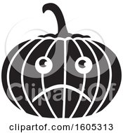 Clipart Of A Black And White Depressed Halloween Jackolantern Pumpkin Royalty Free Vector Illustration