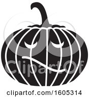 Clipart Of A Black And White Halloween Jackolantern Pumpkin Royalty Free Vector Illustration