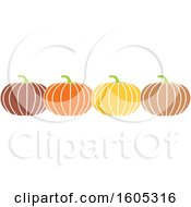 Clipart Of A Row Of Halloween Or Thanksgiving Pumpkins Royalty Free Vector Illustration