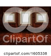 Clipart Of A 3D Wooden Room Interior With Blank Picture Frames Royalty Free Illustration