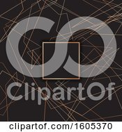 Clipart Of A Frame Over A Metallic Art Deco Pattern Background Royalty Free Vector Illustration