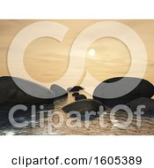 Clipart Of A 3d Landscape With Rocks In The Ocean At Sunset Royalty Free Illustration