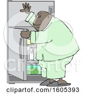 Clipart Of A Cartoon Black Man Looking For Something To Eat In The Fridge Royalty Free Vector Illustration