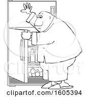 Cartoon Lineart Black Man Looking For Something To Eat In The Fridge