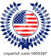 Clipart Of A Patriotic American Wreath Royalty Free Vector Illustration