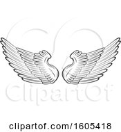 Clipart Of A Grayscale Pair Of Wings Royalty Free Vector Illustration