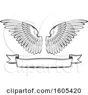 Clipart Of A Grayscale Banner And Pair Of Wings Royalty Free Vector Illustration