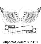 Grayscale Banner And Pair Of Wings
