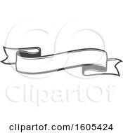 Clipart Of A Grayscale Ribbon Banner Royalty Free Vector Illustration