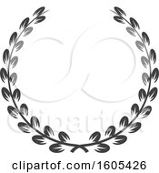 Clipart Of A Grayscale Wreath Royalty Free Vector Illustration