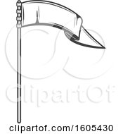 Clipart Of A Grayscale Pennant Flag Royalty Free Vector Illustration