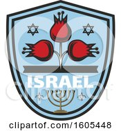 Clipart Of A Shield With Israel Text With A Menorah And Flowers Royalty Free Vector Illustration