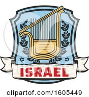 Clipart Of A Shield With Israel Text And A Lyre Royalty Free Vector Illustration