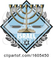 Clipart Of A Diamond With Israel Text And A Menorah Royalty Free Vector Illustration