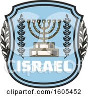 Clipart Of A Shield With Israel Text And A Menorah Royalty Free Vector Illustration