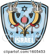 Clipart Of A Shield With Israel Text Royalty Free Vector Illustration by Vector Tradition SM