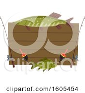 Clipart Of A Sign With Fishing Rods And Fish Royalty Free Vector Illustration