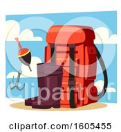 Clipart Of A Backpack And Fishing Gear Royalty Free Vector Illustration