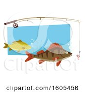 Clipart Of A Fishing Rod Over Fish Royalty Free Vector Illustration