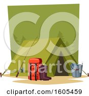 Clipart Of A Tent With Camping And Fishing Gear Royalty Free Vector Illustration
