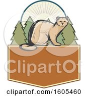Clipart Of A Weasel And Evergreen Trees Over A Blank Shield Royalty Free Vector Illustration