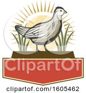 Clipart Of A Bird With A Sunset And Plants Over Blank Banners Royalty Free Vector Illustration