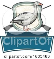 Clipart Of A Goose And Crossed Hunting Rifles With A Shield And Blank Banners Royalty Free Vector Illustration