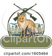 Clipart Of A Coyote And Hunting Rifles Over A Blank Banner Royalty Free Vector Illustration