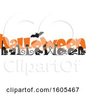 Clipart Of A Flying Bat Over Black Cats Forming Letters In The Word Halloween And Orange Text Royalty Free Vector Illustration