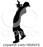 Clipart Of A Silhouetted Male Singer Royalty Free Vector Illustration by AtStockIllustration