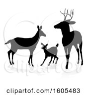 Black Silhouetted Deer Family With A Shadow On A White Background
