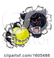 Clipart Of A Black Panther Mascot Breaking Through A Wall With A Tennis Ball Royalty Free Vector Illustration