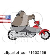 Clipart Of A Cartoon Shirtless Patriotic Black Male Biker With An American Flag Royalty Free Vector Illustration